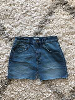 Denim Mini Skirt with Front Slit