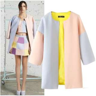 Pink Yellow Blue Colour Block Coat