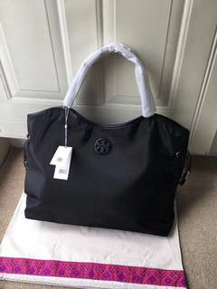 Tory burch slouchy nylon tote bag