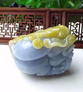 缅甸天然翡翠A货 黄翡 貔貅 茶宠