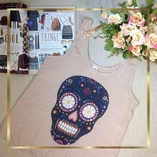 Beige with Skull Printed Top
