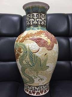 老舊鳳凰雕刻 大花瓶
