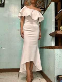 White off shoulder dress gown evening formal tube