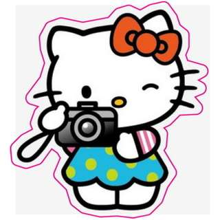 Hello Kitty Photographer Blue Polka Dots Sticker Gloss Waterproof