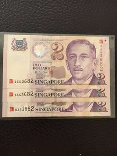 UNC S'pore $2 millennium logo at the top right and bottom left hand corner. UOBank had pack them in 3s, same S/N 4D ending.