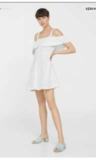 656596e34b Mango Off Shoulder White Linen Button Down Dress