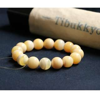 Tibukkyo德榕藏品 蜜蠟黃硨磲 12mm圓珠 16顆 有自然蟲裂現象 珠寶設計手珠手創手環手鍊