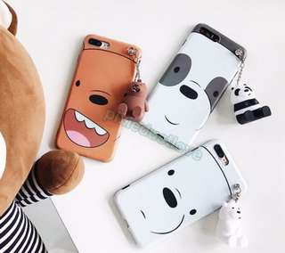 we bare bear phone casing with keychain