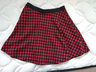 Black and red plaid skirt