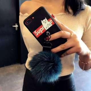 潮牌殼帶毛球 適用於所有市面iphone型號