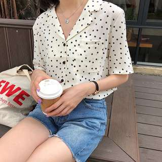 Polka Dot V Neck Short Sleeve Blouse Ulzzang