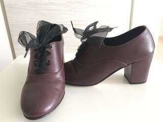Vintage Style Leather Heels