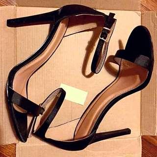 Black satin barely there stiletto sandal heels