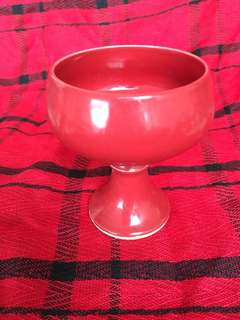 Ming dynasty Wanli mark high stem red cup 8 cm high . 明萬曆年款高足杯