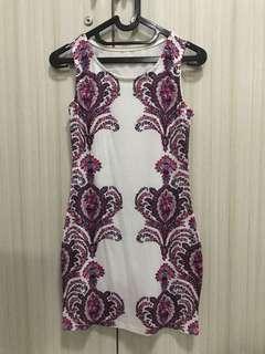 Sleeveless pink flower bodysuit dress