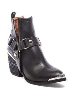 Jeffrey Campbell Orwell Plated Black Leather Ankle Boots
