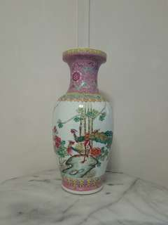 Old Porcelain Flower Vase with enamel painting height 47cm perfect