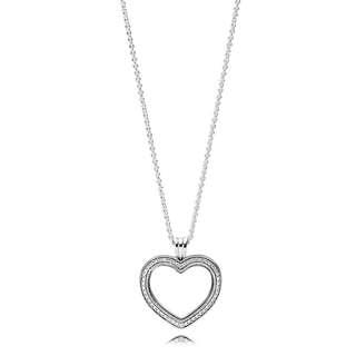 Pandora Sparkling Floating Heart Locket Necklace with Pendant