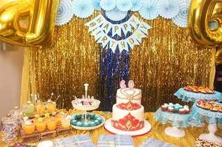Birthday decor set-up with dessert table