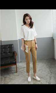 Elastic Back Khaki Pants