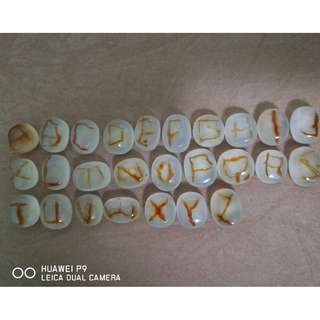 'Alphabet~A to Z~'178ct Orange Brown White  Picture Agate(26 pc) ~ALL NATURAL~