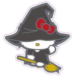Hello Kitty Halloween Witch Broomstick Sticker Gloss Waterproof