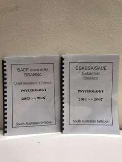 SACE/SAM  Psychology Marking Scheme [2015 - 2007]