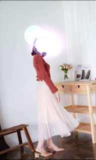 Pleated Tulle Midi Flare Skirt (Cream Pink)