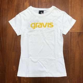 🚚 日系品牌Gravis白色logo圓領短袖T恤上衣