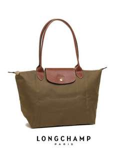 💕💕MOTHER'S DAY SALE! LONGCHAMP LE PLIAGE TOTE 2605089 SMALL/LONG HANDLE (KHAKI) READY STOCK