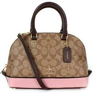 COACH SEIRRA SIGNATURE IN COLOR BLOCK OXBLOOD + PINK COLOR ( F57493 )