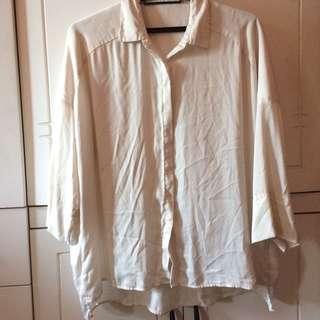MANGO white boyfriend shirt