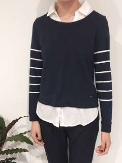 Tommy Hilfiger sweatshirt with white shirt - navy