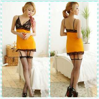 Muimui Sexy Women Orange Polyester With Lace Lingerie With G-string ME217