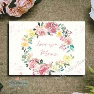 Handcrafted Watercolour Floral Mother's Day Card - Love you Mum