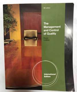 The Management and Control of Quality Textbook