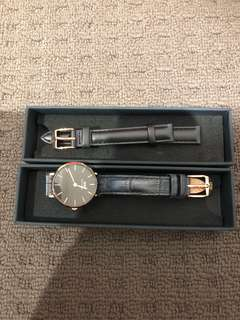 PRELOVED DW watch 28mm black and rosegold