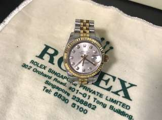 Rolex ladies oyster perpetual with 10 diamonds model 179173