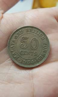 Old coin 50 cents 1954