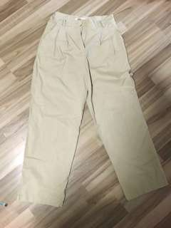 BRAND NEW BEIGE CARGO-ESQUE HIGH WAISTED WIDE PANTS