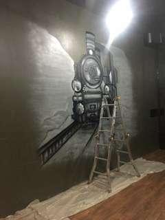 Graffiti mural art for new home wall or shops