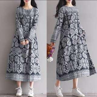 RM50 WOMEN'S LONG SLEEVE OVERSIZED MAXI DRESS