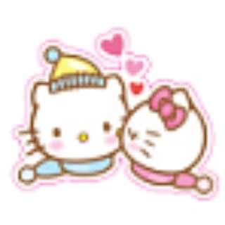 Hello Kitty Kissing Daniel Sticker Gloss Waterproof