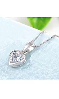 White Gold Plated Heart Crystal Necklace