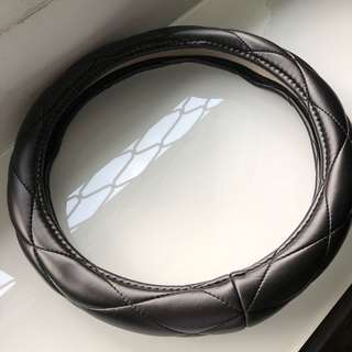 Faux leather black steering wheel cover