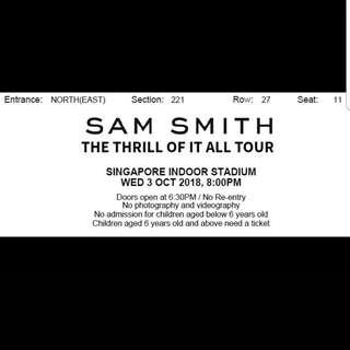 Jual tiket sam smith 3 oct singapore