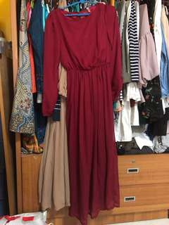 Red Long-sleeved maxi dress