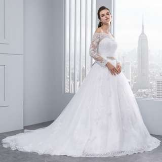 Wedding Dress 2018 Princess Lace Bridal Bride Gowns Luxury Vintage Long Sleeves Off The Shoulder Robe De Marriage