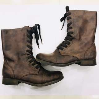 Brown Combat Vegan Leather Boots