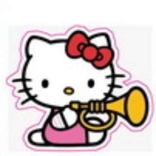 Hello Kitty Trumpet Music Sticker Gloss Waterproof